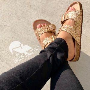 Gold Glittered Double Strap Sandal Slides